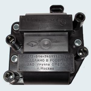 Катушка зажигания сдвоенная 48.3705- для автомобилей Газель Бизнес, Соболь Бизнес с двигателем УМЗ-4216, - для автомобилей Сенс, Славута, Таврия, ЗАЗ Шанс с двигателем МЕМЗ.