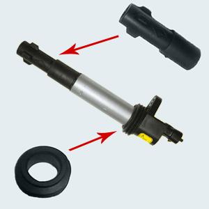 Ремкомплект для катушки зажигания на свечу 61.3705 (состоит из двух резинотехнических изделий: наконечник и кольцо)